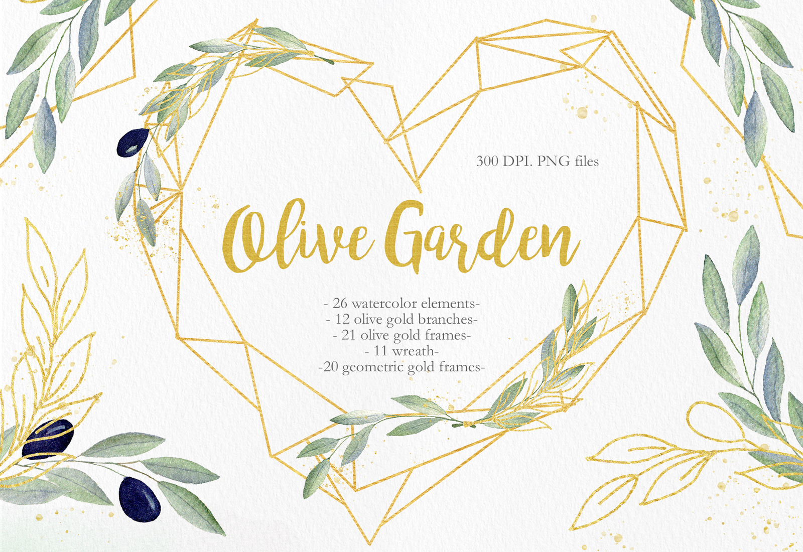 Olive Garden Clipart Collection in Illustrations on Yellow.