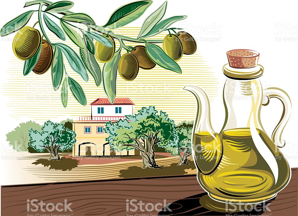 Still Life With Olive Grove stock vector art 150900307.