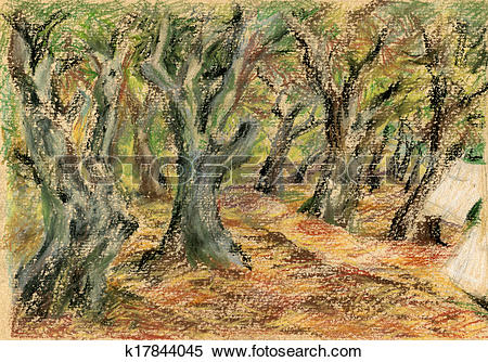 Stock Illustration of landscape with olive grove k17844045.