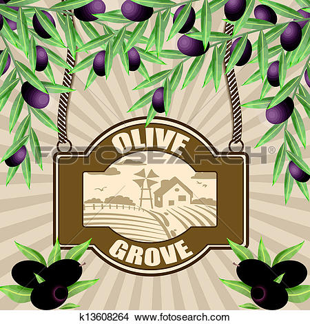 Clipart of Olive grove poster k13608264.