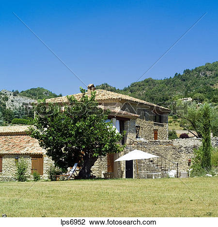 Stock Photo of pr renovated water driven olive mill house provence.