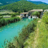 Stock Image of pr renovated water driven olive mill house provence.