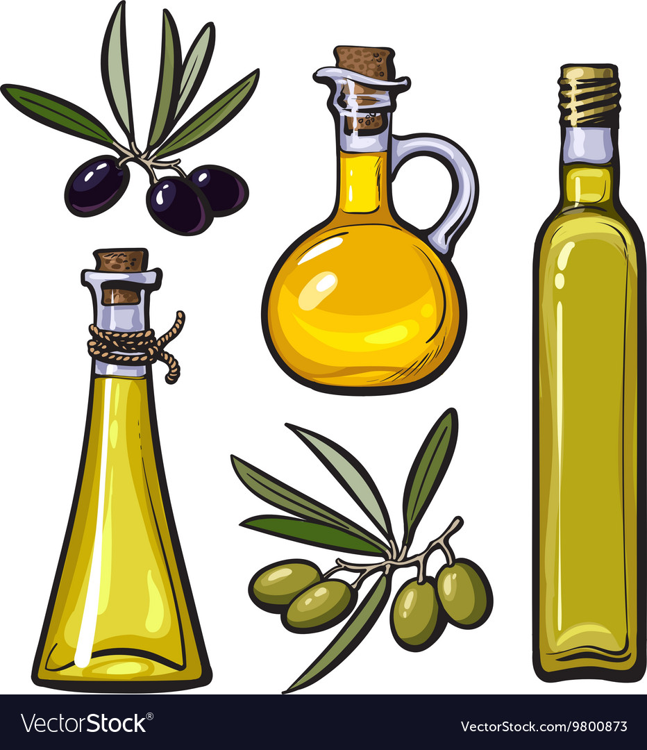 Set of olive oil bottles with black and green.