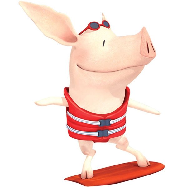 Olivia the Pig as Surfer Girl!.