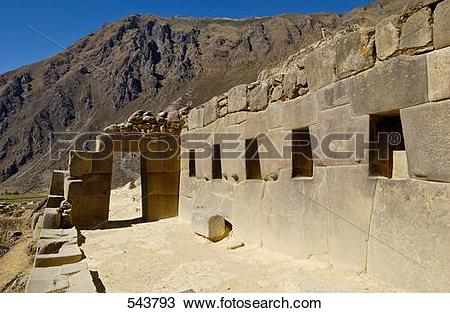 Stock Photo of Old ruins in valley, Ollantaytambo, Urubamba.
