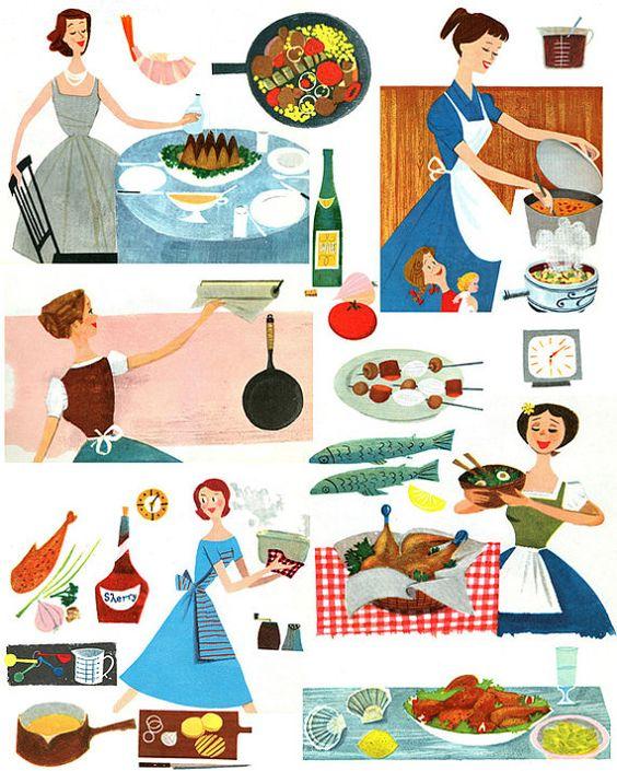 Fabulous Vintage 1950s Mid Century Cookbook Graphics Main Meals.