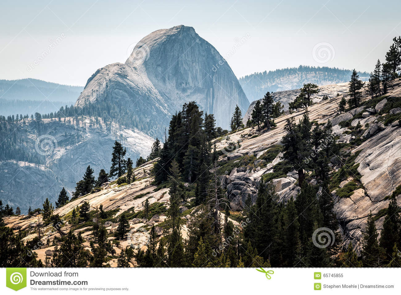 Half Dome From Olmsted Point Stock Photo.
