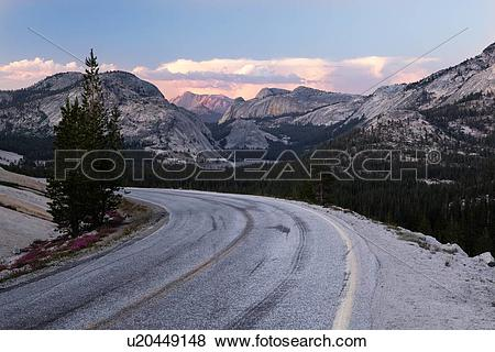 Pictures of Curving road at Olmsted Point, with view of mountain.