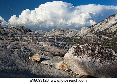 Stock Images of Panorama at Olmsted Point with erratics in.