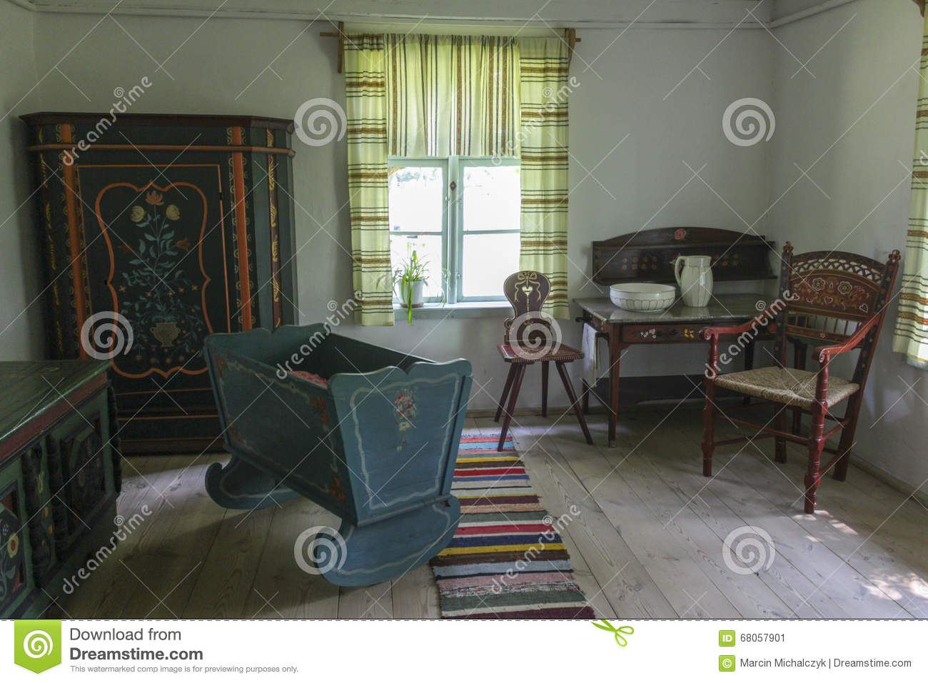 Interior Of The Old Country Cottage In Olsztynek, Poland Editorial.