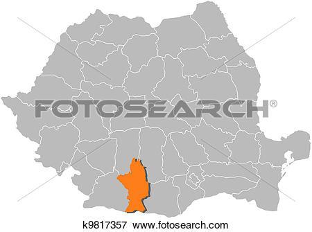 Clip Art of Map of Romania, Olt highlighted k9817357.