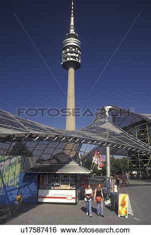 Stock Images of Olympiaturm, Munich, Germany, Bavaria, Munchen.