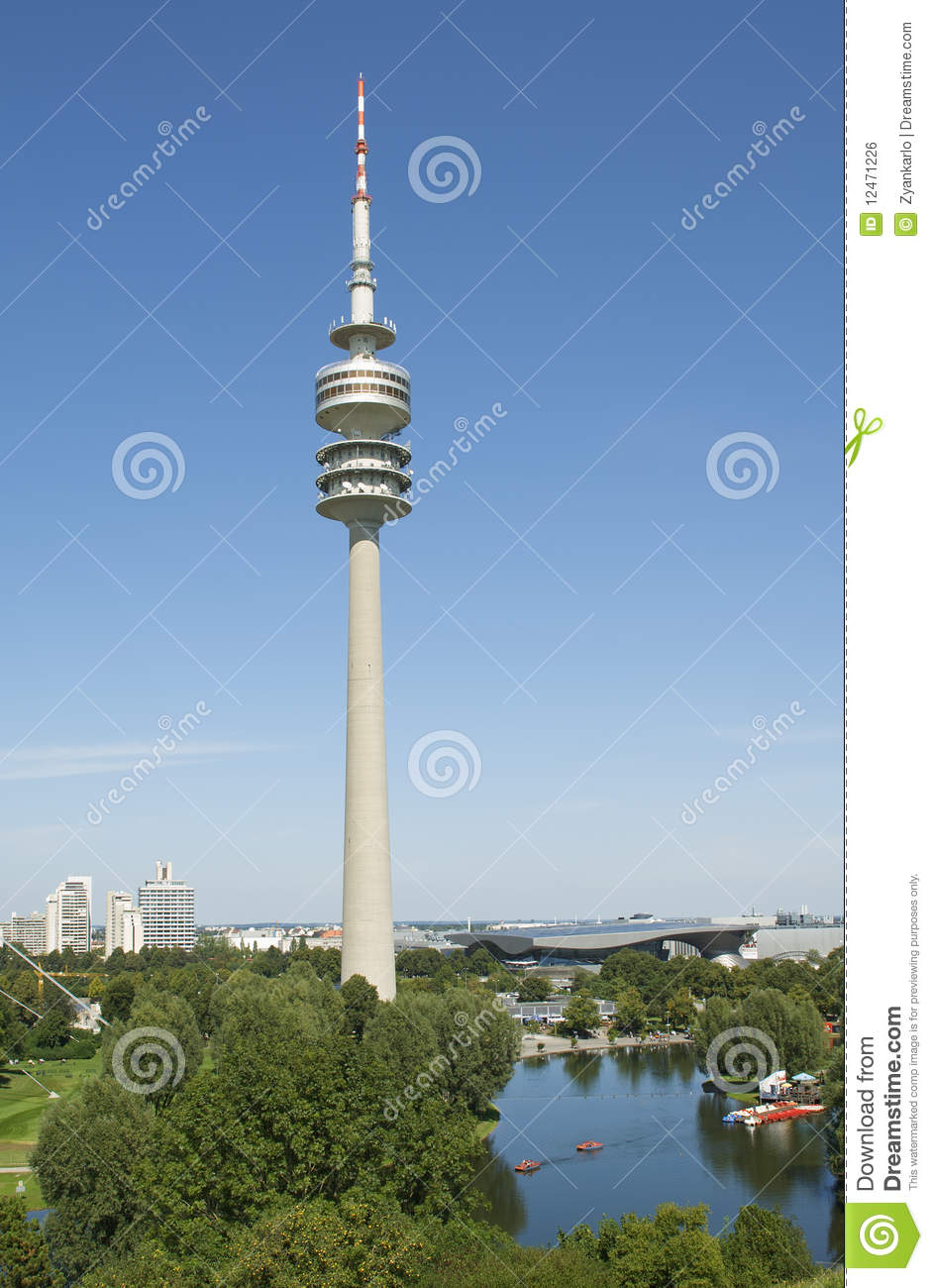The Olympic Tower Of Munich In Germany Royalty Free Stock Image.