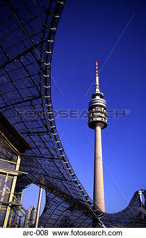 Pictures of Munich Olympic Stadium and Telecommunications Tower.