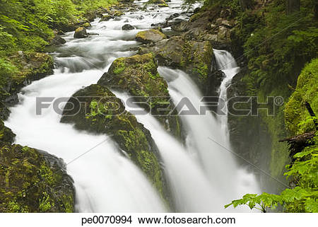 Stock Photo of Rushing water in Sol Duc falls, Olympic National.