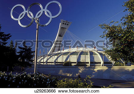 Stock Images of Montreal, Canada, Quebec, Olympic Stadium in.