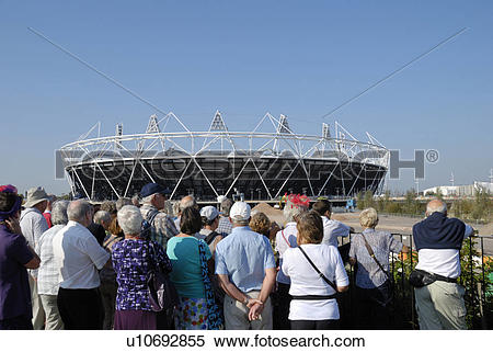 Stock Image of England, London, Stratford. Tourists viewing the.