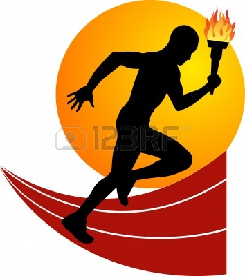 Olympic runner clipart.