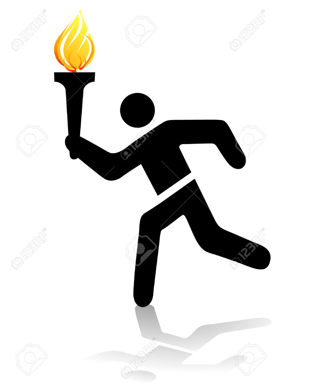 Olympic torch runner clipart.