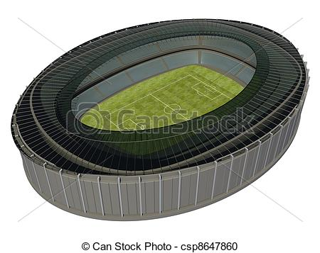 Stock Illustration of Olympic Stadium with Soccer Field on dark.