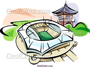 Korea Olympic stadium Vector Clip art.