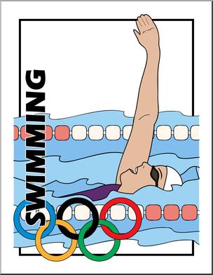 Clip Art: Summer Olympics Event Illustrations: Swimming.