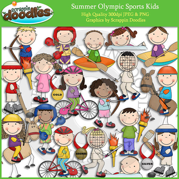 Summer Olympic Sports Kids Clip Art by ScrappinDoodles on.