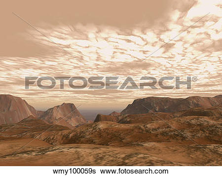 Stock Illustration of Artist's concept from atop Olympus Mons on.