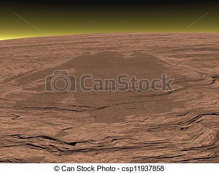 Stock Illustrations of Mons Olympus on Mars planet.