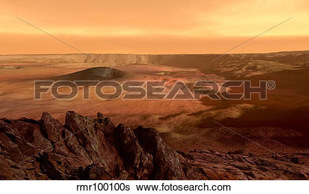 Stock Illustration of The view from the rim of the caldera of.