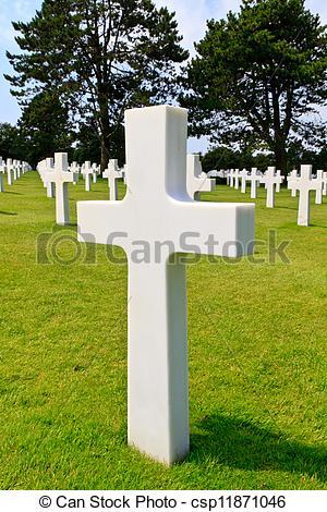 Stock Photo of Marble Cross of fallen Soldier, American War.