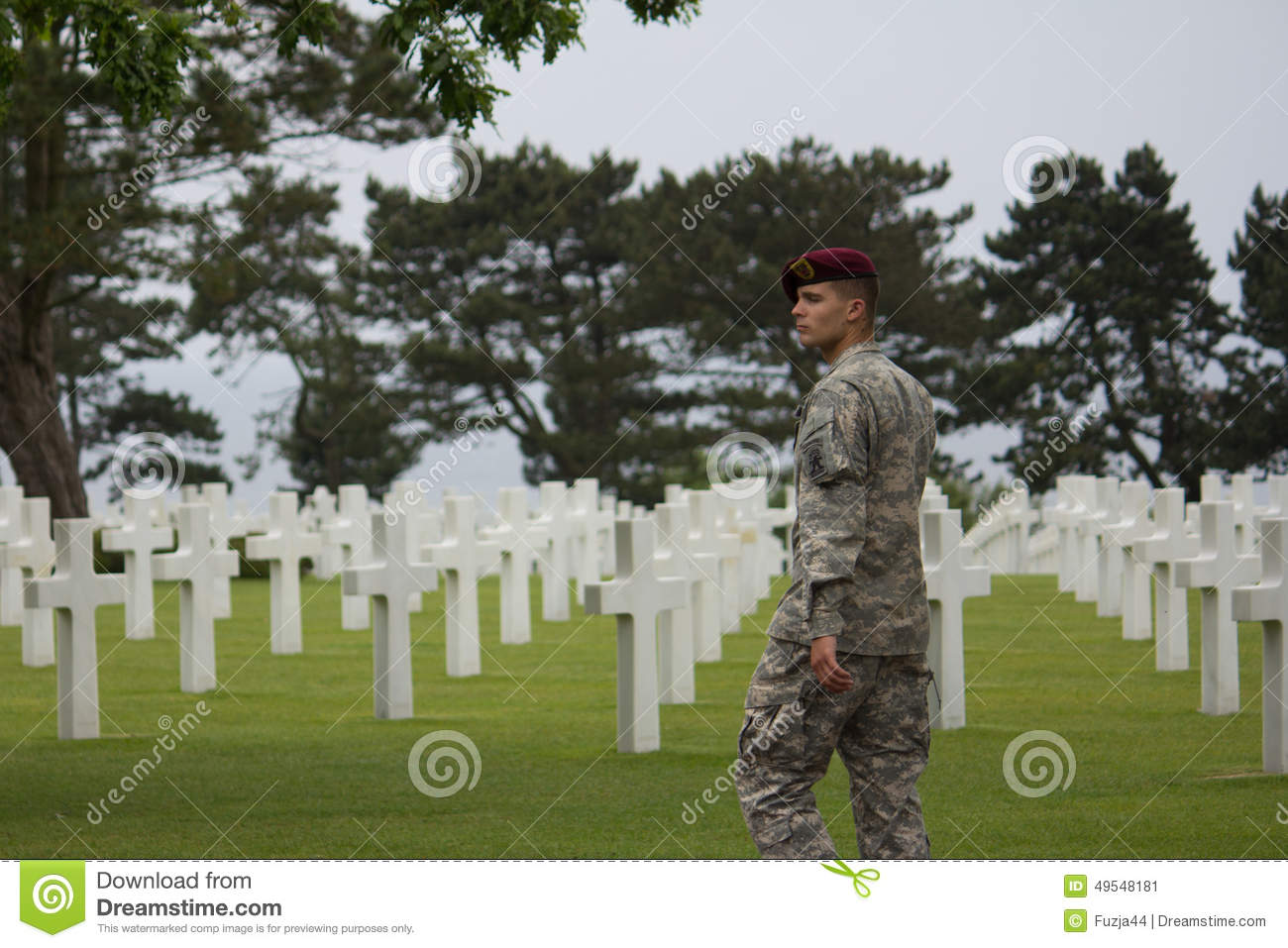 American Military Cemetery Near Omaha Beach At Colleville Sur Mer.