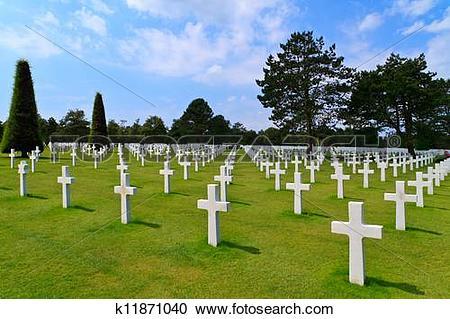 Stock Photography of American War Cemetery near Omaha Beach.