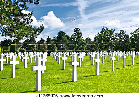 Stock Images of American War Cemetery at Omaha Beach, Normandy.