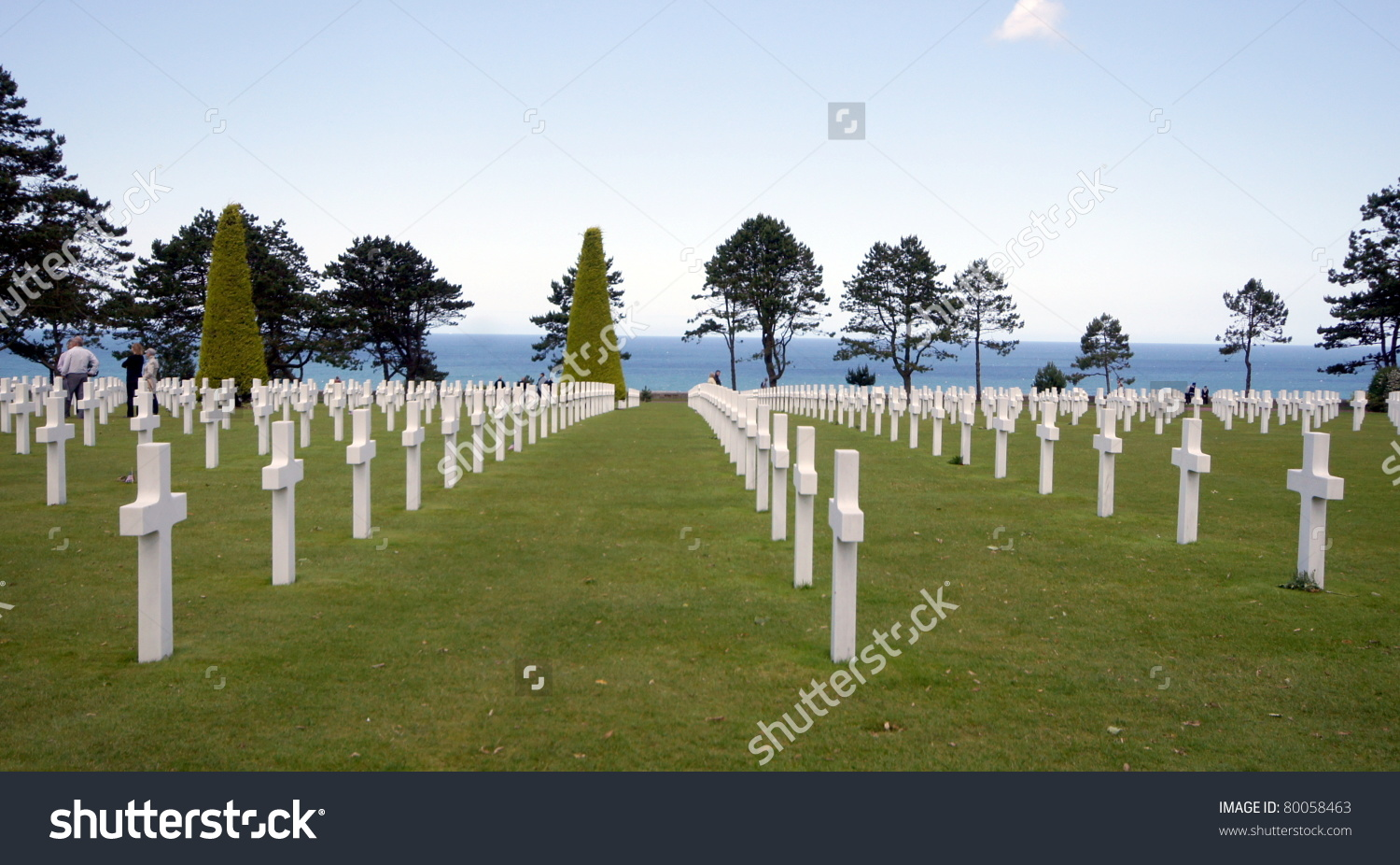 Cemetery American Soldiers Normandy Omaha Beach Stock Photo.