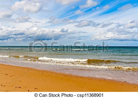 Stock Photography of Omaha Beach, one of the D.