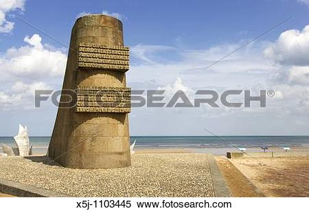 Stock Image of DDay memorial at Omaha Beach Normandy France x5j.