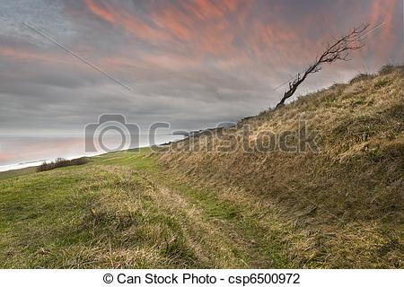 Stock Photo of Old tank road at Omaha Beach.