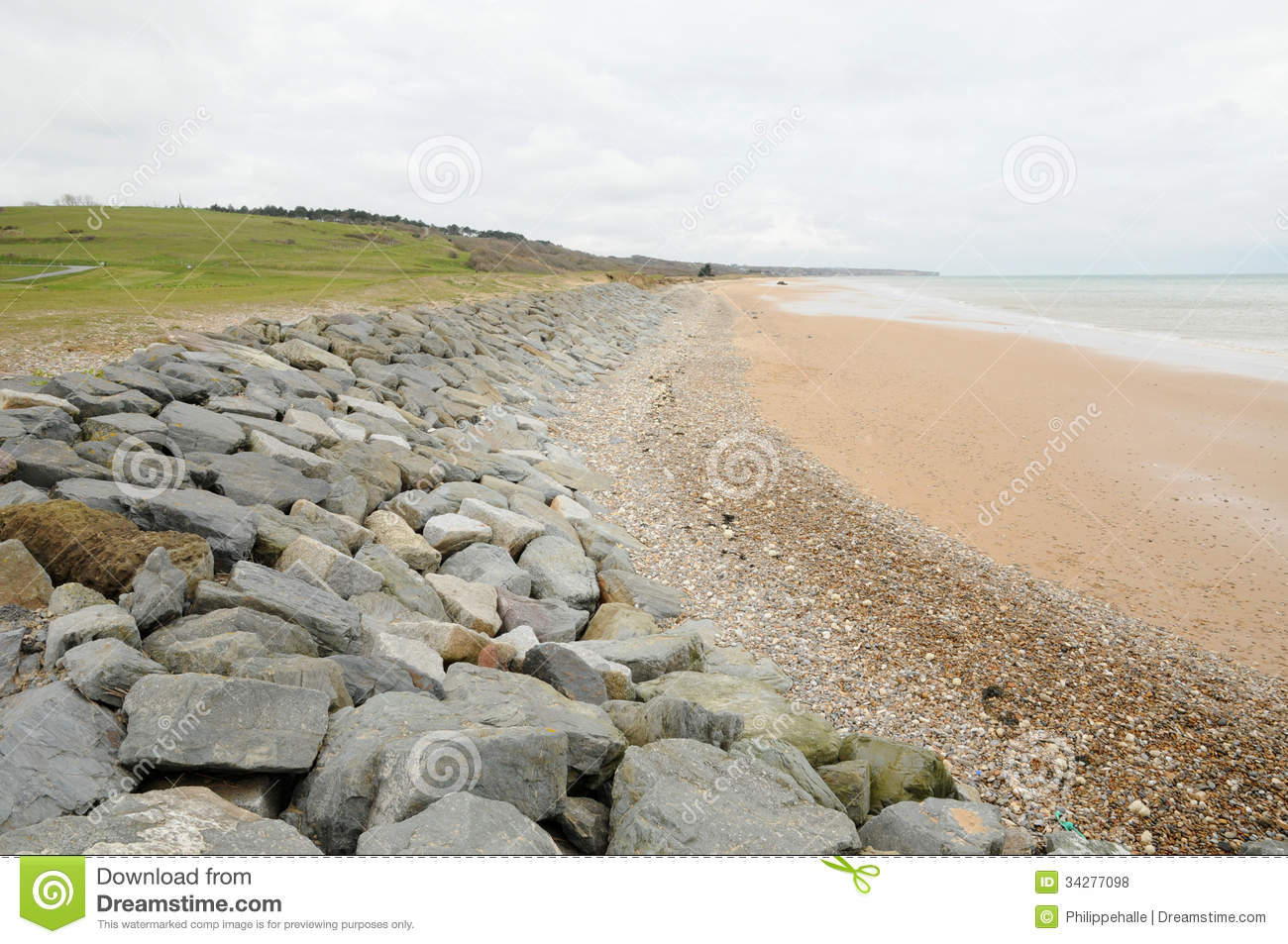 Omaha Beach In Colleville Sur Mer In Normandy Royalty Free Stock.