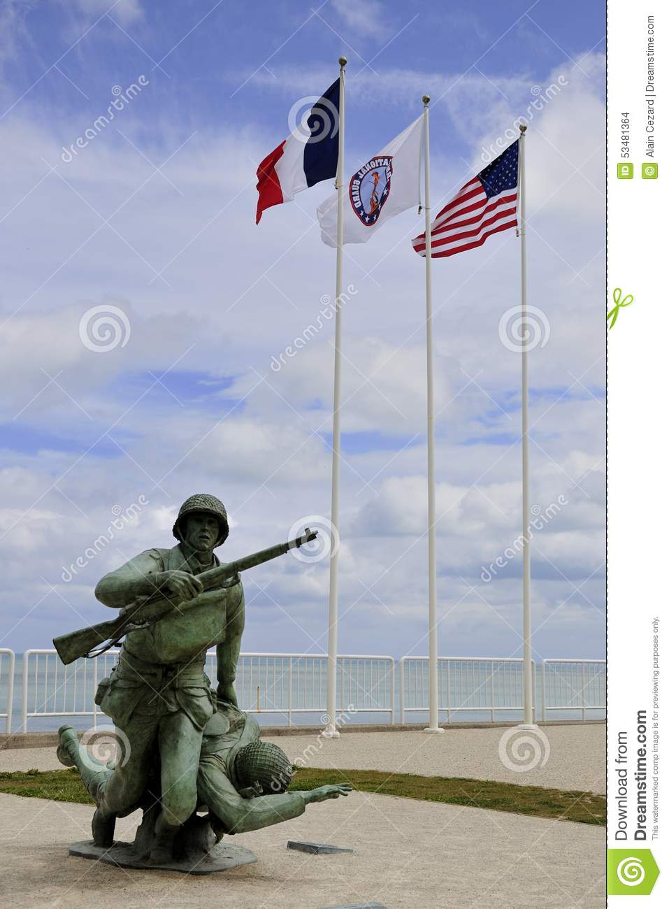 Soldier Statue Memorial On Omaha Beach Stock Photo.