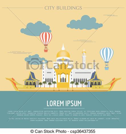 Clipart Vector of City buildings graphic template. Sultan Omar.