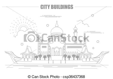 Clip Art Vector of City buildings graphic template. Sultan Omar.