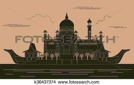 Clipart of City buildings graphic template. Sultan Omar mosque.