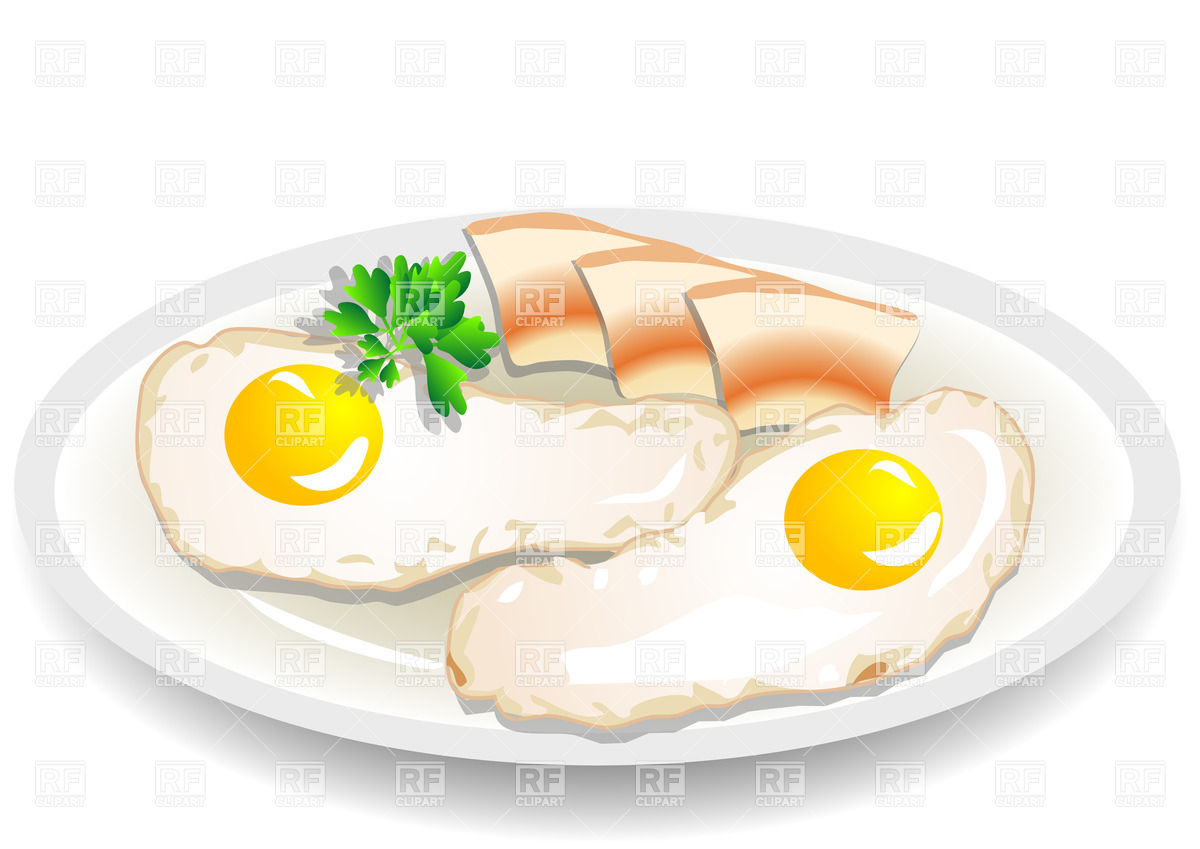Omelet with bacon on a plate Vector Image #36766.
