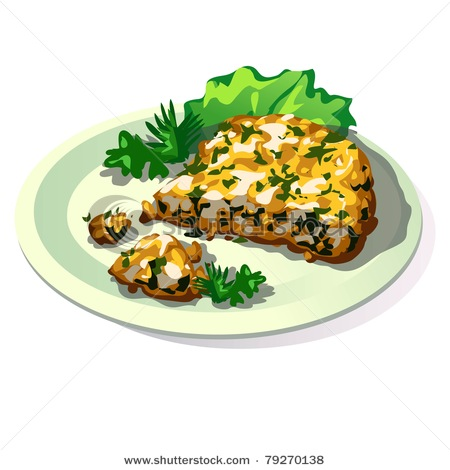 Art Picture of an Omelette with Spinach.