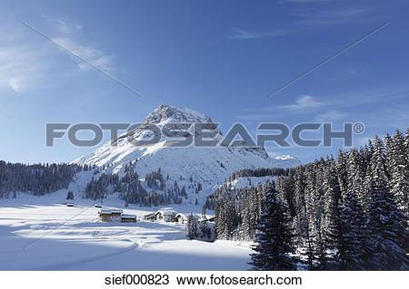 Stock Photo of Austria, Vorarlberg, View of omeshorn mountain.