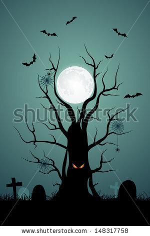 Halloween Background With Ominous Tree In The Cemetery Stock.