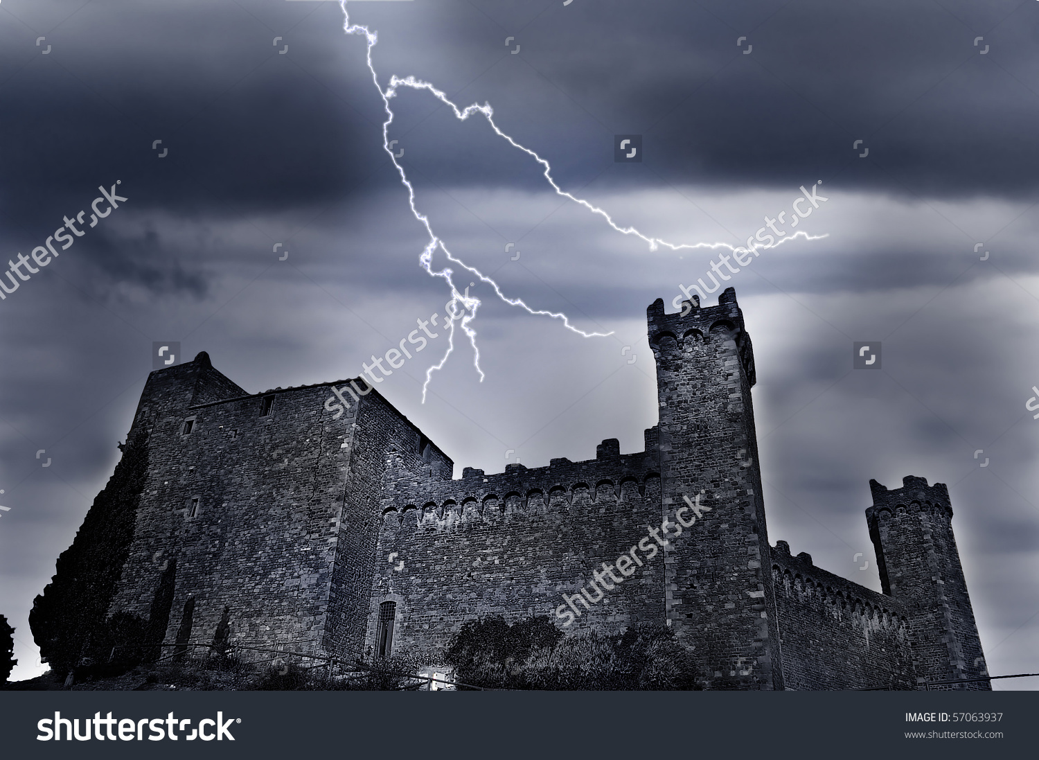 Old Castle Dark Ominous Clouds Lightning Stock Photo 57063937.