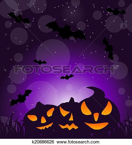 Clip Art of Halloween ominous pumpkins on moonlight background.
