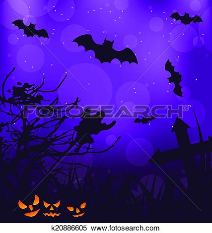 Clipart of Halloween ominous background with pumpkins, bats, ghost.